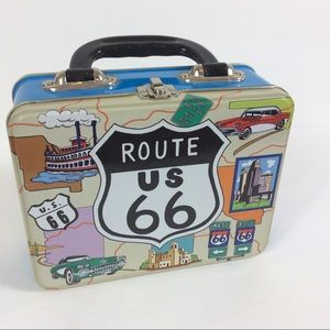 Vintage US Route 66 HWY Metal Lunch  With Cars/Map
